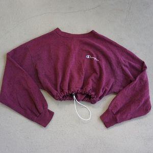 Vintage champion crop drawstring sweatshirt